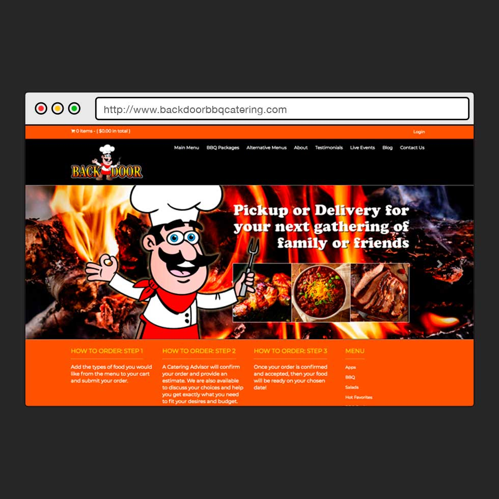 Wordpress | Art Direction + Design + Development | Backdoor BBQ Catering